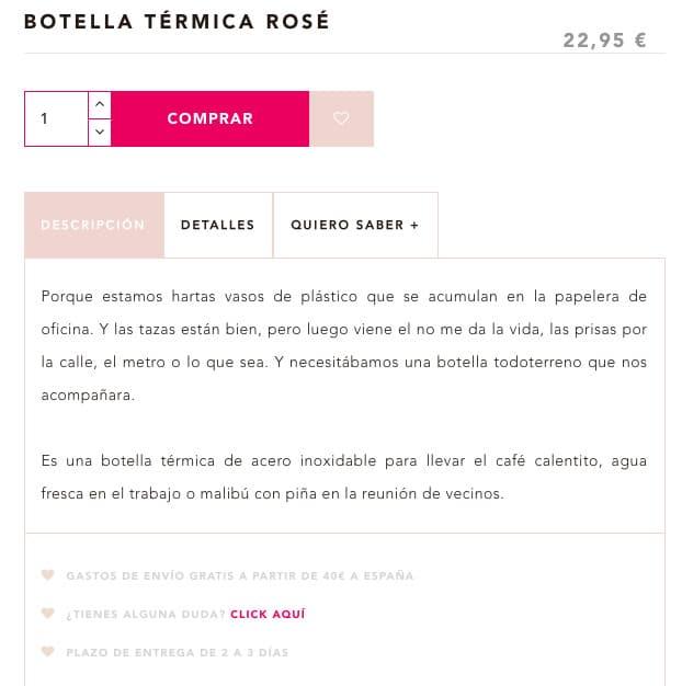 Descripción ecommerce botella Lucía B