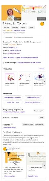 Ficha de Google My Business de 1puntoencomun.com agencia de contenidos y SEO local en Cartagena