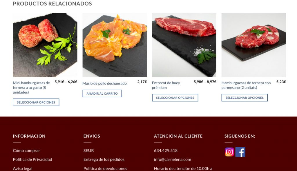 Ficha de producto de Carnelena